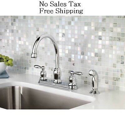 New Moen Caldwell Chrome 2 Handle High Arc Kitchen Sink Faucet With