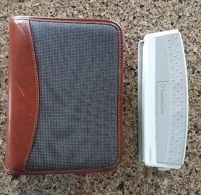 Franklin Covey Leather/Fabric navy Binder with Franklin Covey Paper Punch