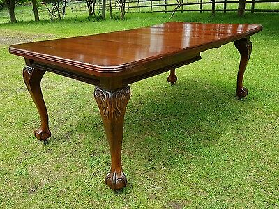 Antique Solid Mahogany Wind Out Dining Table