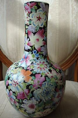 Chinese Famille Rose Millefleurs Bottle Vase Qianlong Mark 19c Circa 1880