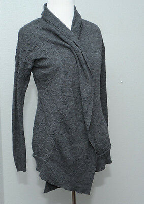 A Pea in the Pod Maternity Gray Ribbed Open Front Long Cardigan Sweater LARGE L
