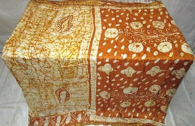 Cream Golden Pure Silk 4 yd Vintage Antique Sari Saree Online Fabrics US #EJ3PS
