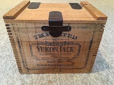 Vintage Yukon Jack Whiskey Wood Crate Box With Leather Straps And Chains