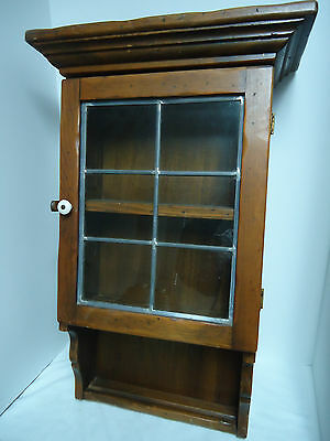 Shabby Chic Vintage SOLID WOOD CABINET Leaded Glass Wall Display Shelf