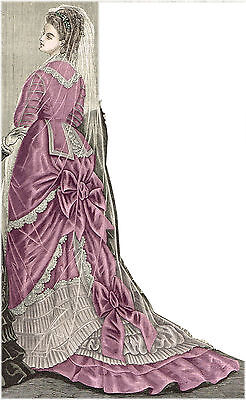 Pattern for Victorian 1876 Bridal or Evening Gown - Sized for you