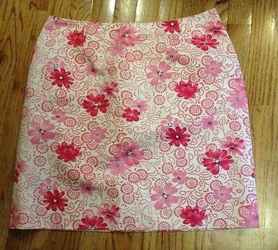 Womens ANN TAYLOR Pink/White Floral Skirt Size 14