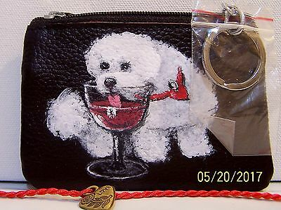Bichon Frise hand painted genuine leather coin purse  with keyring
