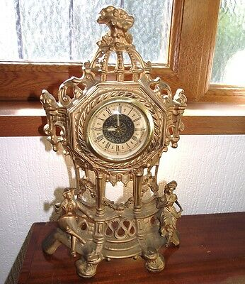 Vintage French style cast brass clock
