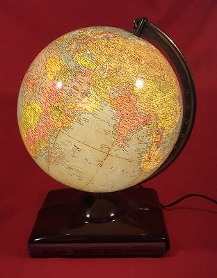 GLOBE Vintage Replogle World Lamp Antique  Map Light with atlas & paperwork