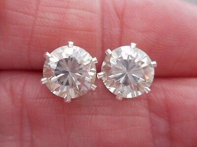EARRING PAIR SILVER 2.80TCW 1.40ct VVS1 7.60mm ICY SILVER WHITE ROUND MOISSANITE