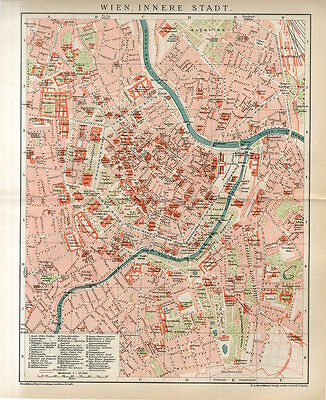 1895 AUSTRIA VIENNA INNER CITY PLAN Antique Map