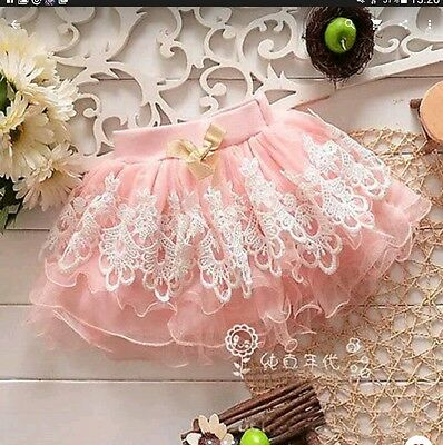 New * Lace Tutu Dance Party Skirt * Baby Girl Age 12-18 Months * Pink * Uk Stock