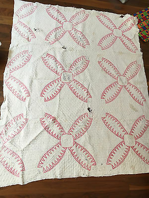Antique quilt, white and pink, cotton - late 1800s.