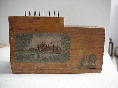 Tramp or Folk Art 1895 Dated Puzzle Box With Comic Artwork, Antique, No Reserve