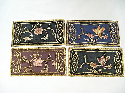 Lot of Vintage golden flowers embroidered silk flowers & butterflies textile lot
