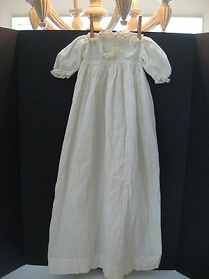 Antique Vintage Long White Cotton/Linen Christening Gown with lace