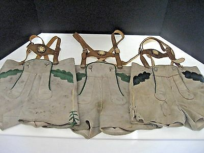 Vtg German Lederhosen Leather Shorts Suspenders Breeches Boy Child 3 piece lot