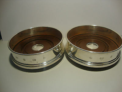 Solid Silver Wine Bottle Coasters Carrs Sheffield 2001 Matching Pair