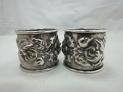 Vintage Silver Plated Rose Repousse Napkin Rings Made in Italy Lot of 2