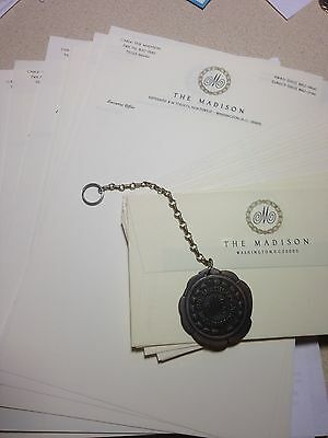 VINTAGE THE MADISON HOTEL WASHNGTON, D.C.  KEY FOB w/CHAIN + STATIONERY (UNUSED)