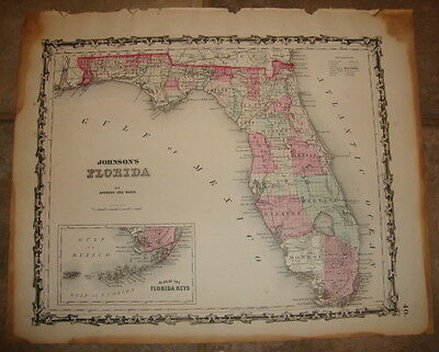 1863 ORIGINAL, FLORIDA, Hand Colored, large, Johnson antique map