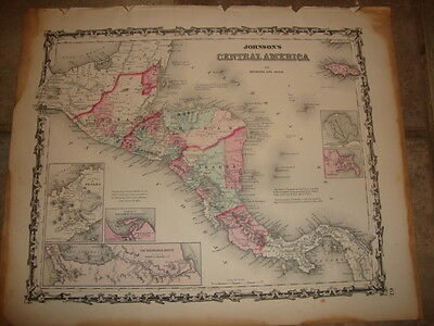 1863 ORIGINAL, CENTRAL AMERICA, Hand Colored, large, Johnson antique map