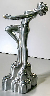 """Frankart style art deco nymph with her arms out aluminum metal figurine 9"""" USA"""