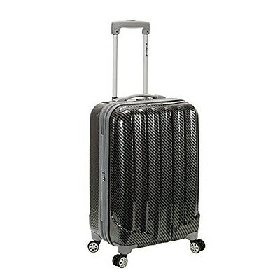20 in Carbon Lightweight Carry On Spinner Luggage Travel Suitcase Black Rolling