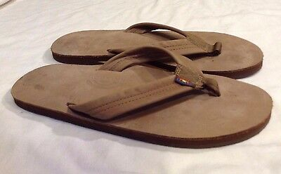 Mens RAINBOW Brown Leather Flip Flops Size 13....See Measurement