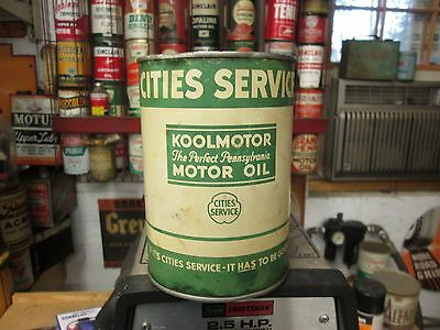 Early Original Koolmotor Cities Service Motor Oil One Quart Can Metal
