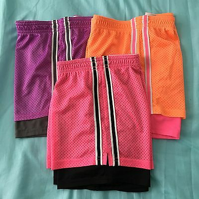 LOT of 3 Justice for Girls 2-in-1 Mesh Gym Athletic Shorts Size 18