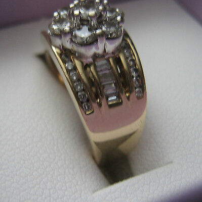 14K/Ct * White /Gold Dress/Engagement Ring with Diamonds *  Size J