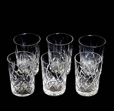 Vintage group of 6 cut crystal whisky tumblers - 3 of each of 2 designs