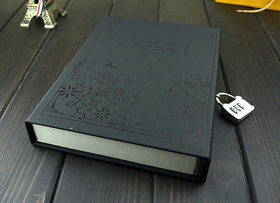 Vintage Diary Notebook Journal Notepad Hard Cover With Code Lock Gift Box Black