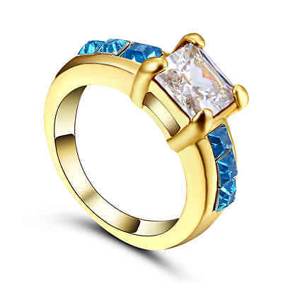White CZ Engagement Ring18KT yellow gold Filled Ring Women's Jewelry Size 6