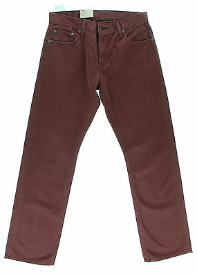 New With Tags Men's LEVI'S Burgundy 100% Cotton Straight Fit Jeans Size 30 X 30