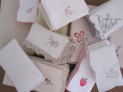 FIVETY TWO (52) Hand Embroidered Vintage TABLE NAPKINS 'BULK LOT'