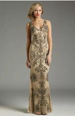 LOTUS THREADS New Bouquet Hand Beaded Gown In Champagne  Sz 4 $875.00 NWT
