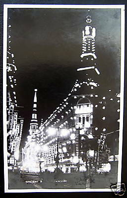 CHINA~1920's SHANGHAI~SINCERE STORE AT NIGHT~ RPPC