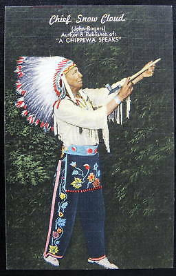 **chippewa Indian~ Chief Snow Cloud With Peace Pipe