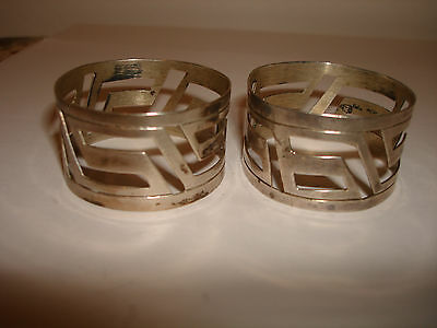 Vintage Collectible Mexico 925 Sterling Silver Set 2 Pc Napkin Rings