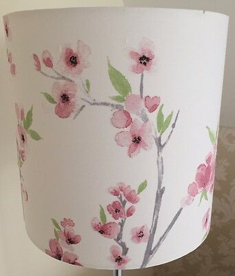 Cherry Blossom, Floral Lampshade Handmade 20cm Drum, Vintage, Shabby Chic