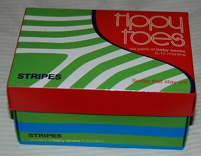 TIPPY TOES – Baby Striped Socks Box Set of 6 - Size 0-12 months