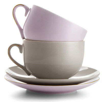 Lilac & Grey Cup and Saucer - Set of 2 - Plate Coffee Tea Fine Pink Decor Home