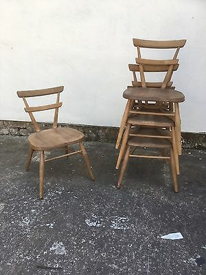 4 Vintage Ercol Mid Century Red Dot Child's Childrens Chairs Small