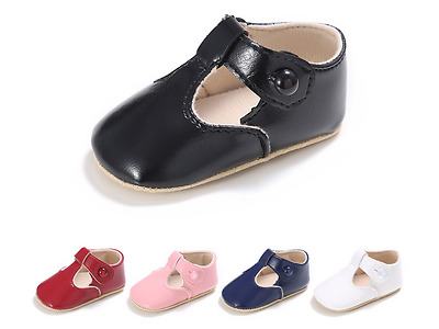 Newborn Baby Boy Girl Soft Sole T-Bar Pram Shoes Toddler Mary Jane Shoes 0-18 M