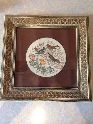 Gorgeous Mosaic Framed Hand Painted Plaque of Bird Birds ? Signed