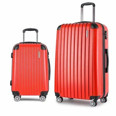 Hard Shell 2pc Suitcase Luggage Set Travel Bag Trolley with TSA Lock Red Carry