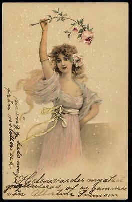 *Vintage Art Deco Glamour UB PPC 1904 - Beautiful Maiden With Pink Rose