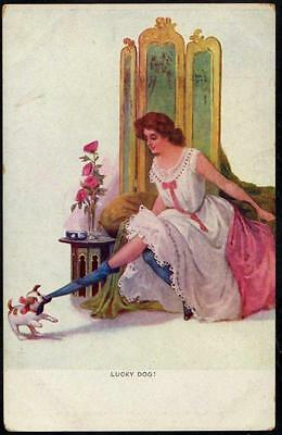 """*Vintage Art Deco Glamour  PPC - """"Lucky Dog!"""" - Lady in Blue Stockings"""